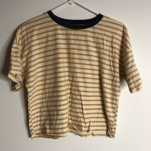 Forever 21 Tops - Yellow and white striped shirt cropped
